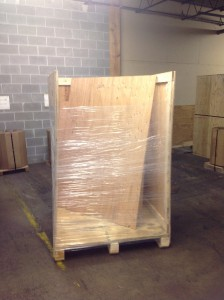 Custom wood crating with shrink wrap